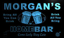 p508-b Morgan's Personalized Home Bar Beer Family Name Neon Light Sign
