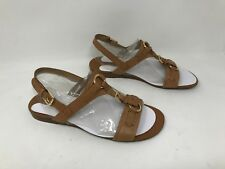 New! Women's Franco Sarto Gili Casual Leather Flat Sandals - Brown 63V