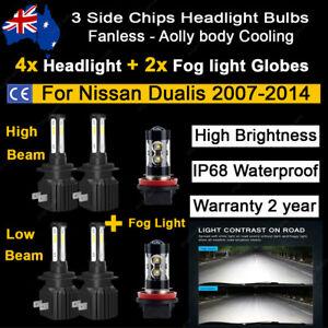 6x Headlight Fog light Globes For Nissan Dualis 2012 2013 high low beam LED bulb