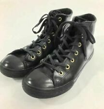 Converse Youth Black Leather High Top Shoes, Youth Boys Girls Size 3