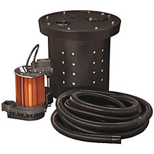 Auto Poly Sump Pump Kit 1/3HP 115V Crawl Space Installation w/ Basin 16.5inx15in