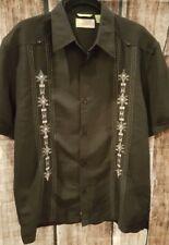 Cubavera Black Shirt Medium Rayon/Polyester