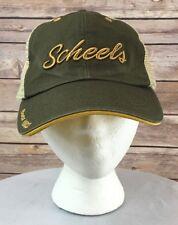 SCHEELS Baseball Cap Vintage Trucker Hat Adjustable Mesh Back Mustard Green
