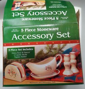 Royal Seasons 5PC Gravy Bowl&Saucer, 2 Candle Sticks, Napkin Holder Snowman