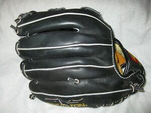 """Easton EX1212B model 12"""" black leather right handed thrower baseball glove/mitt"""