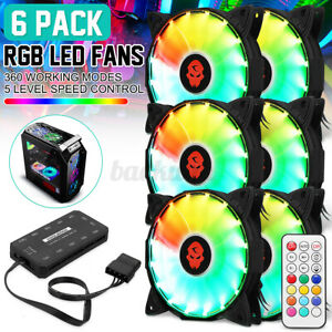 6 Pack RGB LED Quiet Computer Case PC Cooling Fan 120mm with 2 Remote Control