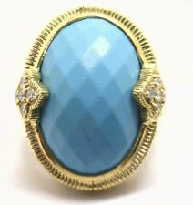 Judith Ripka 18K Yellow Gold Turquoise and Diamond Ring 22 grams. Size 6.25