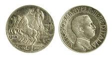 pcc1839_52) Vittorio Emanuele III (1900-1943) 1 Lira 1910 Quadriga Veloce Toned