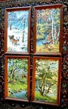 """4 Vintage Framed  Paint by Numbers Winter Summer Spring Fall Autumn 19"""" x 11"""""""