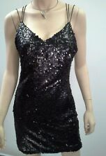 BEBE Sydney Size 10 Black Thin Strappy Sequin Mini Dress Fully Lined $229