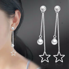 925 Sterling Silver Star Pearl Pendant Tassel Earrings For Women Charm Jewelry