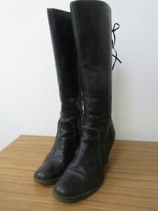 FAB JONES BLACK LEATHER KNEE HIGH BOOTS SIZE 6, 39.