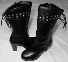 HARLEY-DAVIDSON Autumn BOOTS Womens Black Leather Pull On Side Zip Cushion Lined