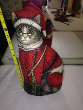 VTG stuffed Print Cloth Cat SANTA PAWS doll Toy works CHRISTMAS HEARTH DOOR STOP