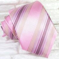 Cravatta regimental rosa classica seta Made in Italy matrimoni business  RP € 39