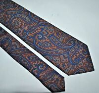 """Guy Laroche  Silk Brown & Blue  Paisley  Print Tie Made In ITALY Vintage 3"""" Wide"""