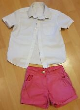 Girls 4 - 5 years white shirt (school blouse) F&F and pair pink shorts George