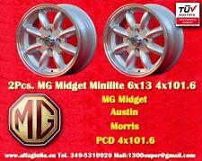 2 Cerchi MG Midget  Minilite 6x13 PCD 4x101.6 Wheels Felgen Llantas Jantes TUV
