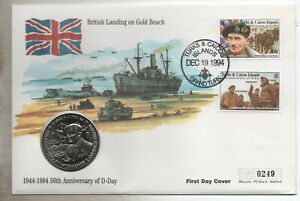 1994 Turks & Caicos D-Day five crowns coin cover BU FDC
