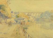 Jean NICOL (1885-1980) Vue de MORLAIX Paysage de Bretragne finistère France