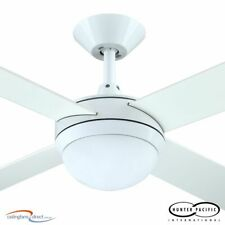 "HUNTER PACIFIC 52"" INTERCEPT 2 CEILING FAN WITH 2 X E27 LIGHT - WHITE - NEW"