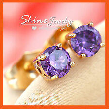 9K GOLD GF SOLID LADY GIRL ROUND STUD EARRINGS PURPLE AMETHYST CRYSTAL JEWELRY