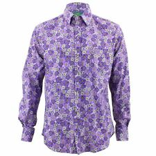 Mens Loud Shirt Retro Psychedelic Funky Party TAILORED FIT Purple Floral