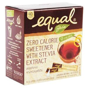 Equal, sugar substitute sweetener from stevia 80g, 40 pack