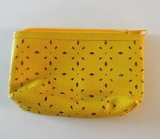 """Yellow Pebbled Look Vinyl w Floral cut-outs. Zippered 4"""" x 4"""" x 1 Ships Free"""
