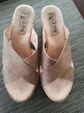 Korks korkease rose gold leather platform cork wedge slide sandal size 6 or 36.5
