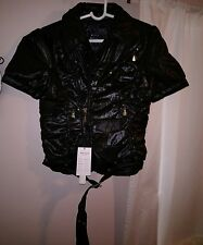 Peppe Peluso Black Quilted Belt Biker Motocycle Puffy Fitted Coat Jacket Top NWT