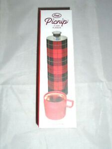 Picnip Flask by Genuine Fred Reproduction Vintage Tartan Plaid 10 oz New