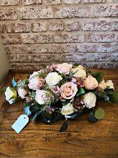 Blush Pink & Ivory Rose Large Oval Table Top Wedding Arrangement
