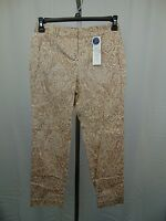 Charter Club Petite Classic Fit Tummy Slimming Paisley Ankle Pants 16P Tan #3685