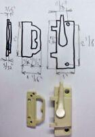 "Dark Beige Awning Window Diecast Sash Cam Lock Lugs Keeper: Holes=2-1/8"" X 11/16"