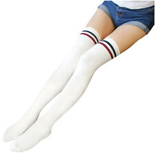 19c32e18c Women Stripe Tube Dresses Over The Knee Thigh High Stockings Cosplay Socks  M5e7