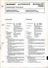 Service Manual-Instructions pour Blaupunkt Bamberg CR, 7 634 932