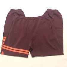Victoria's Secret Pink Campus Sweatpants Maroon Orange Sz Small