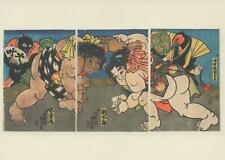 VICTORIA and ALBERT MUSEUM JAPANESE WOODBLOCK POSTCARD MOMOTARO WRESTLING