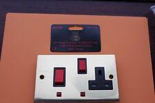 Sector 2G Die Cast Polished Brass/black 45A DP cooker control +13A socket neons