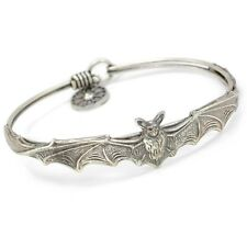 NEW SWEET ROMANCE ART NOUVEAU STYLE BAT BANGLE BRACELET SILVER FINISH