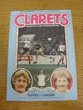 15/02/1983 Football League Cup Semi-Final: Burnley v Liverpool  . Item in very g