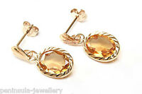 9ct Gold Citrine Drop dangly Earrings Gift Boxed Birthday Gift Made in UK
