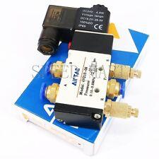 4V210-08 DC 24V Solenoid Pneumatic Valve 5 Port 2 Position & Connector Silencer