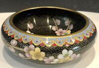 Vintage Rare Dogwood Chinese Cloisonné Trinket Dish Pink Flowers Blue Bottom