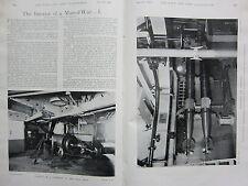 1898 BOER WAR ERA PRINT ~ INTERIOR MAN OF WAR CASEMATE MAIN DEC QUICK FIRING GUN