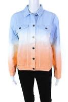 MINKPINK Womens Fade Away Denim Jacket Blue White Orange Size X-Small