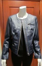 QUEENSPARK MOTOCYCLE ZIP LEATHER JACKET Size 12 navy-blue solid tag