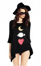 Wildfox Couture Womens Fashion Real Home Sunday Morning oversize Tee Top Shirt