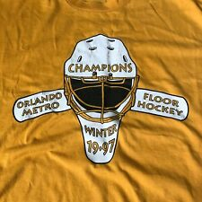 Vintage 1997 Orlando Metro Floor Hockey Champions Yellow Shirt Size XLarge
